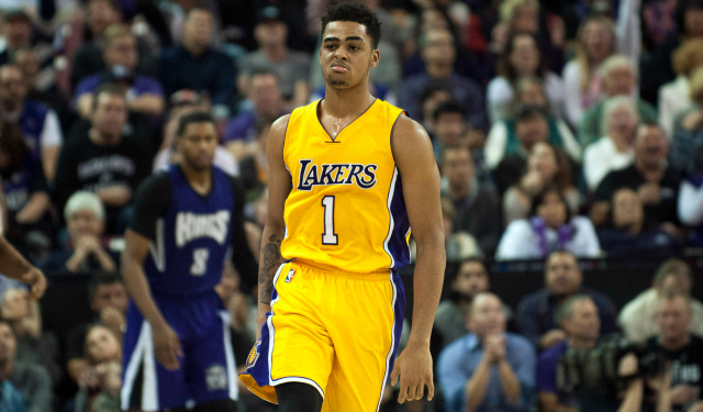 Jan 7, 2016; Sacramento, CA, USA; Los Angeles Lakers guard D'Angelo Russell (1) reacts after making a shot against the Sacramento Kings during the fourth quarter at Sleep Train Arena. The Sacramento Kings defeated the Los Angeles Lakers 118-115. Mandatory Credit: Ed Szczepanski-USA TODAY Sports