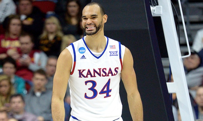 Mar 19, 2016; Des Moines, IA, USA; Kansas Jayhawks forward Perry Ellis (34) reacts after a play in the first half against the Connecticut Huskies during the second round of the 2016 NCAA Tournament at Wells Fargo Arena. Mandatory Credit: Steven Branscombe-USA TODAY Sports