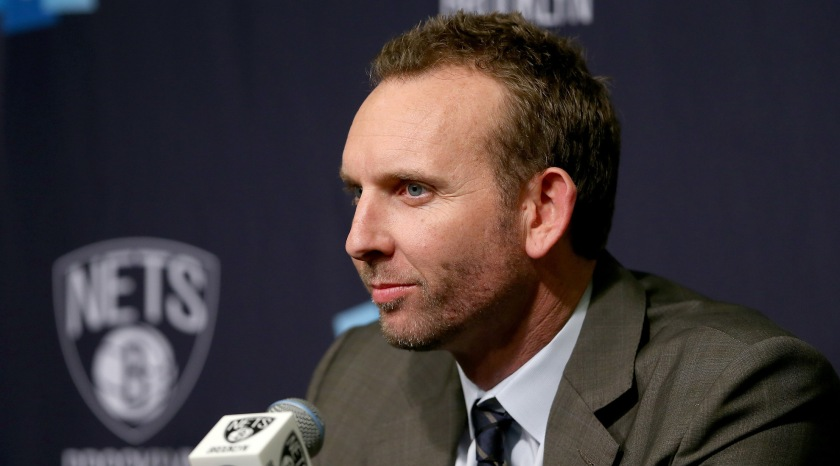 NEW YORK, NY - FEBRUARY 19: Newly hired Brooklyn Nets General Manager Sean Marks answers questions during a press conference before the game between the Brooklyn Nets and the New York Knicks at Barclays Center on February 19, 2016 in the Brooklyn borough of New York City. NOTE TO USER: User expressly acknowledges and agrees that, by downloading and or using this photograph, User is consenting to the terms and conditions of the Getty Images License Agreement. (Photo by Elsa/Getty Images)